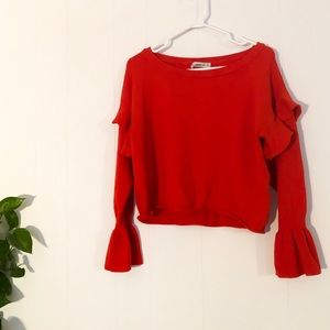 Zara | Ruffle Sleeve Cropped Sweater
